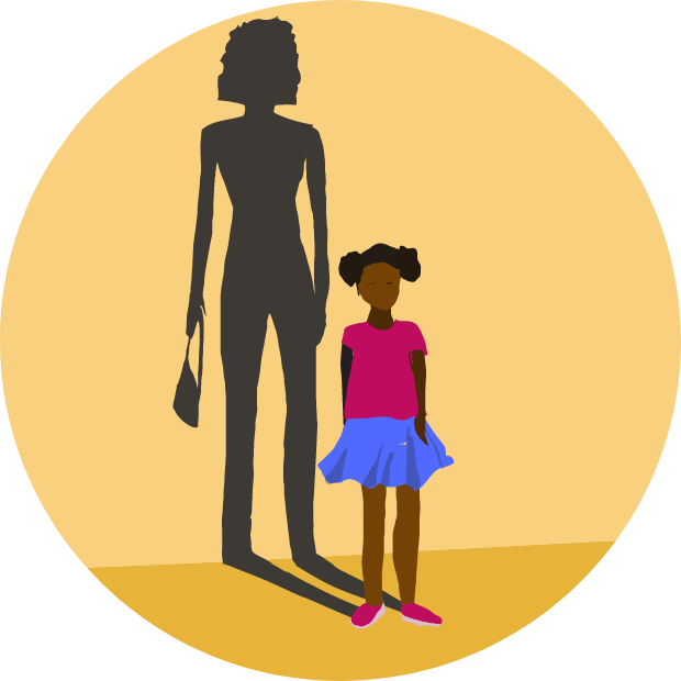 Icon of graphic with young girl casting an adult womanly shadow.