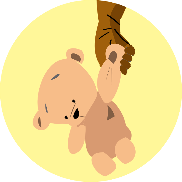 Icon with graphic of a hand carrying a plush teddybear.