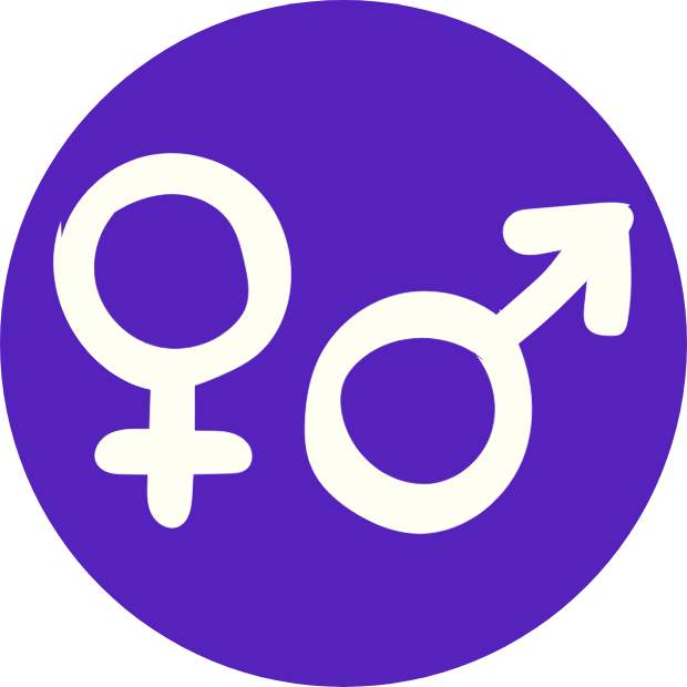 Icon with graphic of both the female and male symbol.