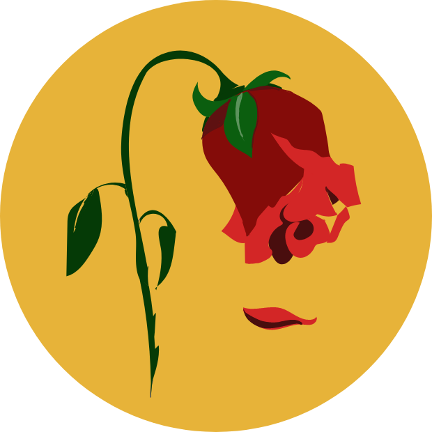 Icon with graphic of a rose bent over and a petal falling from it.