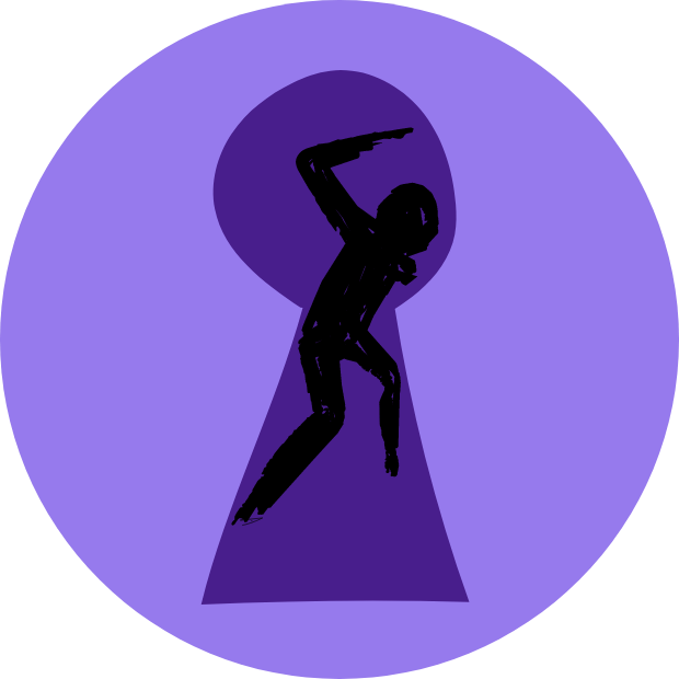 Icon with graphic of an angry shadowy figure through a keyhole.