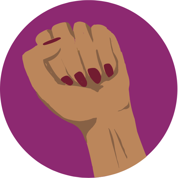 Icon with graphic of a fist with red nail polish.