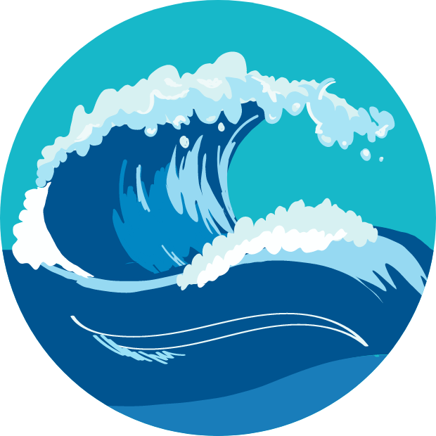 Icon with graphic of an ocean wave.