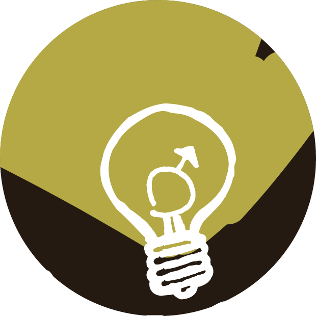 Icon with graphic of a lightbulb with the male gender symbol