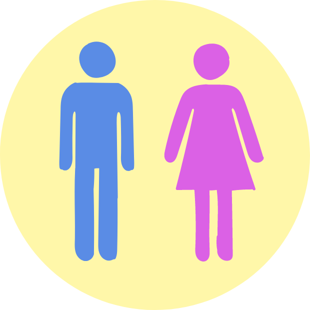 Icon with graphic of a male and female bathroom figures