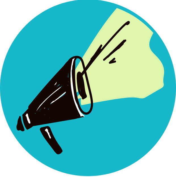 Icon with graphic of a megaphone.