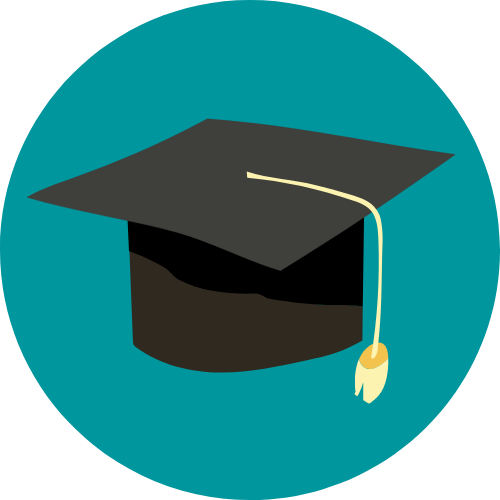 Icon with graphic of a graduation cap
