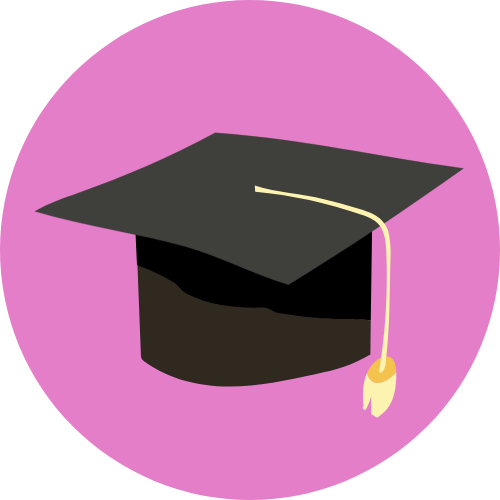Icon showing a graphic of a grraduation cap.