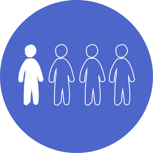Icon showing a graphic of one out of four people coloured in